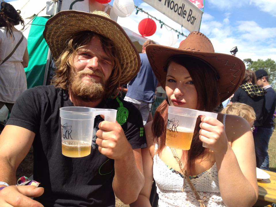 Higgins' drinking beer at Nozstock - Emily Priestley