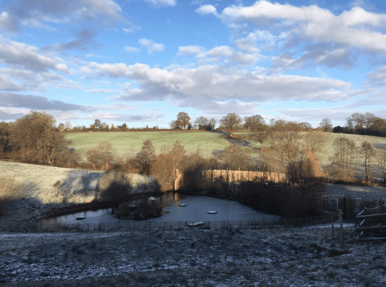 frosty fields at Rowden Paddocks, farm of Nozstock