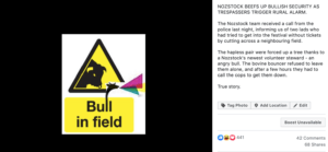 Facebook post about the bull chase, warning image of Bull in field