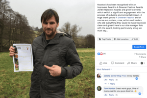 Facebook post of our winning certificate in Rob Noz's hands