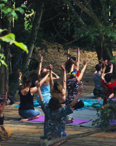 Yogis stretching