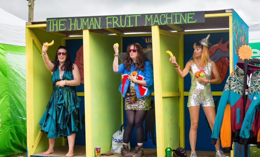 people playing human fruit machine