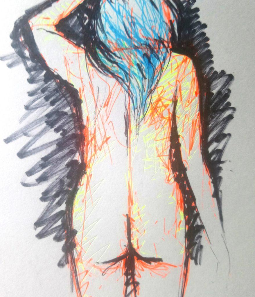 Sketch of nude woman with blue hair from behind